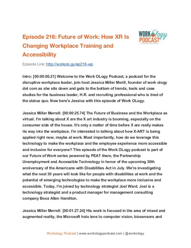 Episode 216: Future of Work: How XR Is Changing Workplace Training and Accessibility Episode Link: http://workolo.g...