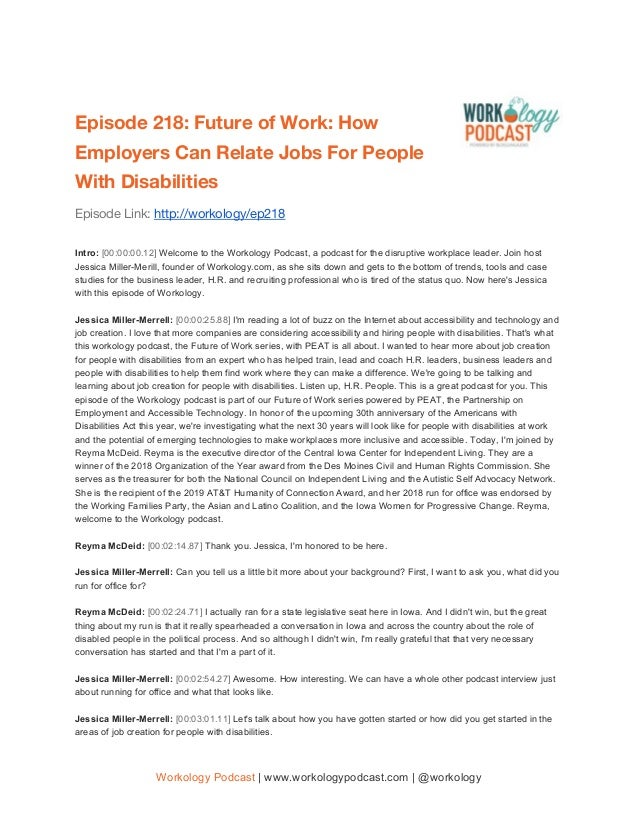 Episode 218: Future of Work: How Employers Can Relate Jobs For People With Disabilities Episode Link: http://workolo...