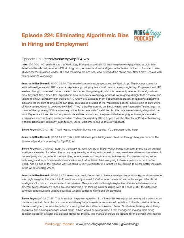 Episode 224: ​Eliminating Algorithmic Bias  in Hiring and Employment     Episode Link: ​http://workology/ep​2​24-wp Intr...