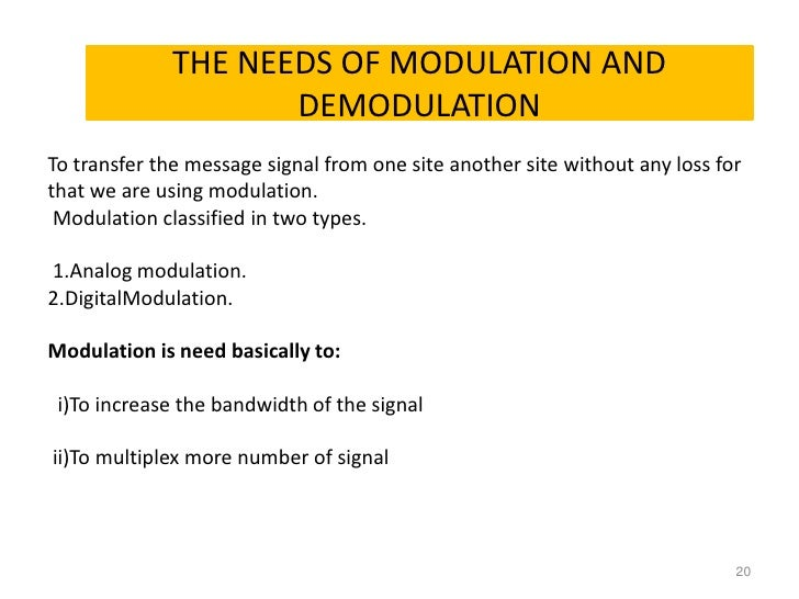 Needs for Modulation