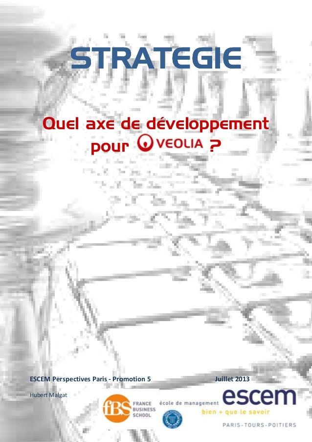 STRATEGIESTRATEGIESTRATEGIESTRATEGIE Quel axe de développement pour ? ESCEM Perspectives Paris - Promotion 5 Juillet 2013 ...