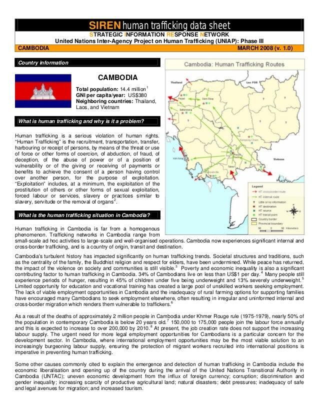 SIREN human trafficking data sheet  STRATEGIC INFORMATION RESPONSE NETWORK  United Nations Inter-Agency Project on Human T...