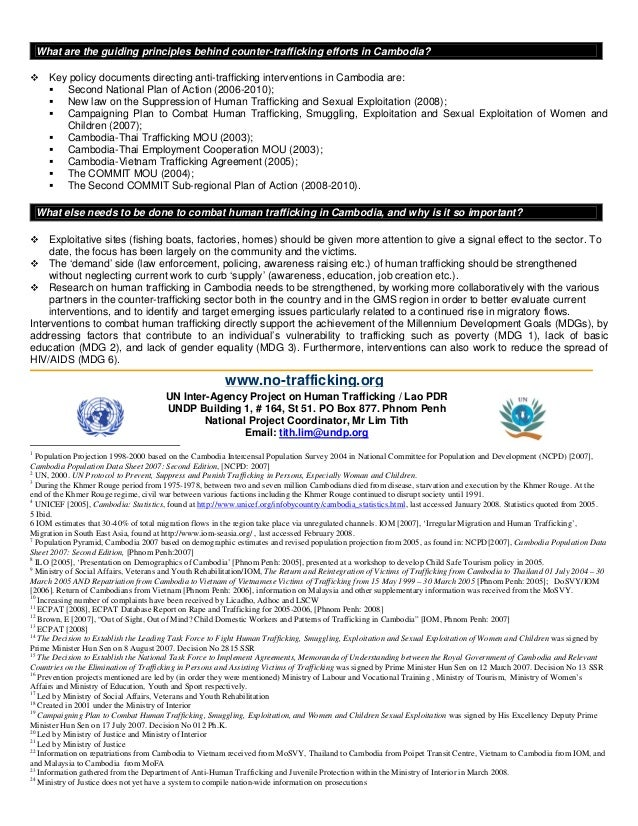 What are the guiding principles behind counter-trafficking efforts in Cambodia?  ™ Key policy documents directing anti-tra...