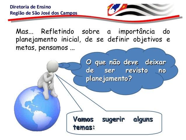 Diretoria de EnsinoRegião de São José dos CamposMas... Refletindo sobre a importância doplanejamento inicial, de se defini...