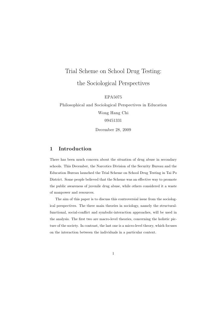 Trial Scheme on School Drug Testing:                   the Sociological Perspectives                                      ...