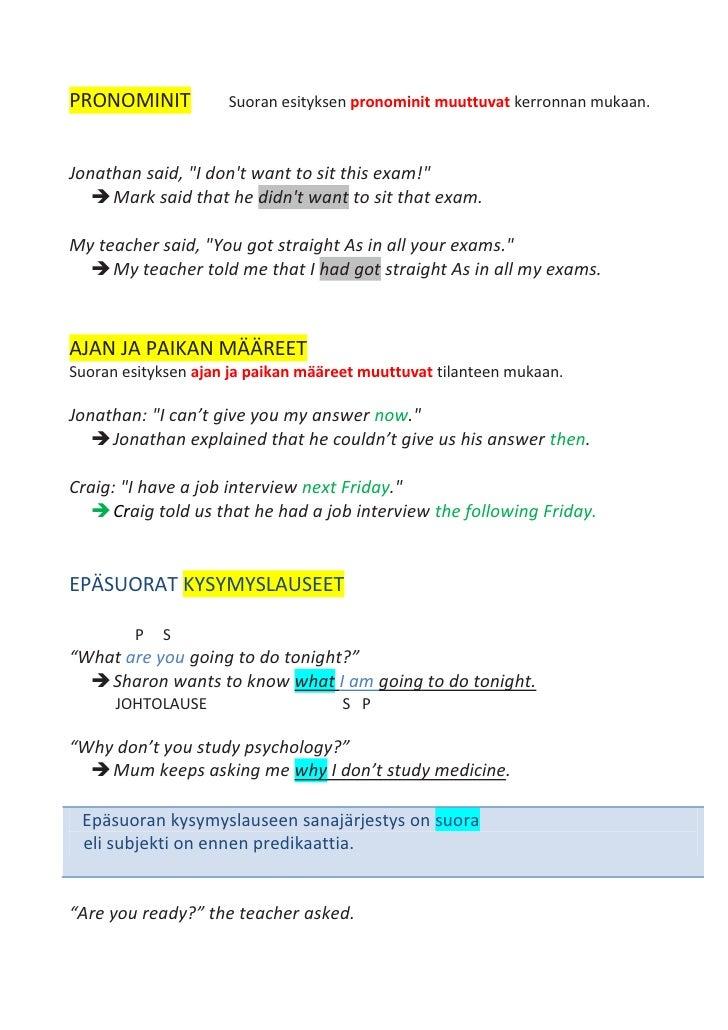Epäsuora esitys englannin kielessä