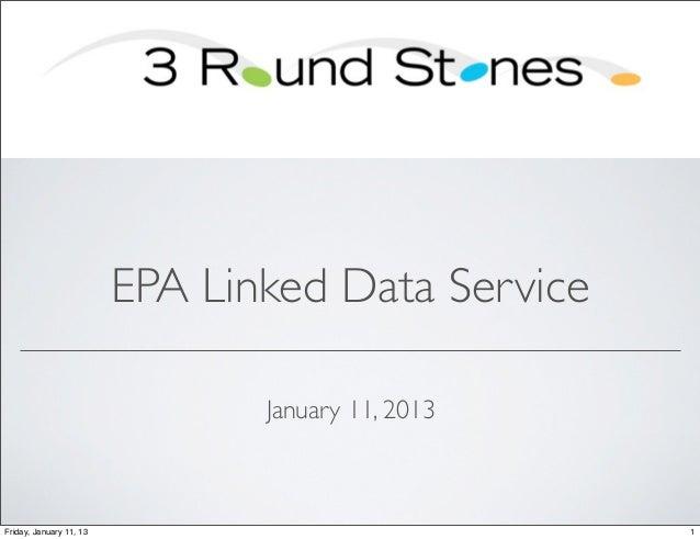 EPA Linked Data Service                                January 11, 2013Friday, January 11, 13                             1