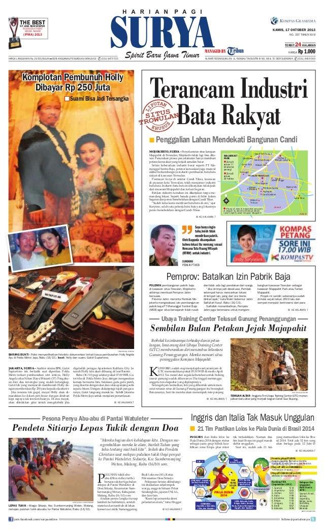 THENEWSPAPER BEST OF JAVA INDONESIA PRINT MEDIA AWARD  KAMIS, 17 OKTOBER 2013  (IPMA) 2013  NO. 337 TAHUN XXVI TERBIT  24 ...