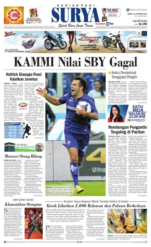 TheNewspaper Best OF Java Indonesia Print Media Award  (IPMA) 2013  SENIN, 21 OKTOBER 2013 NO. 341 TAHUN XXVI TERBIT  24 H...