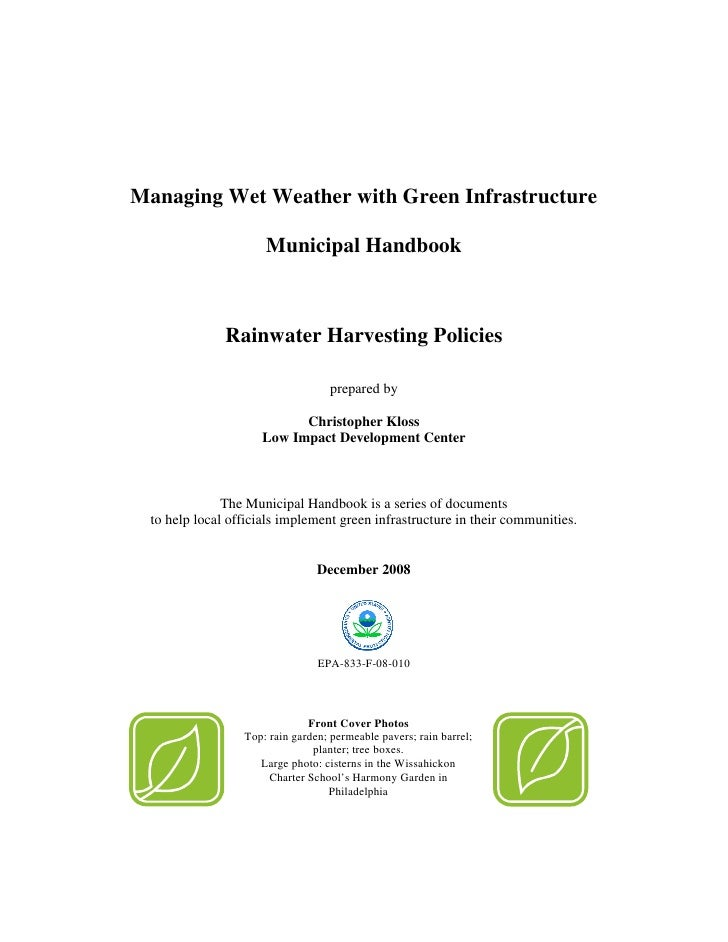 Yes Green Infrastructure: EPA Rainwater Harvesting Manual