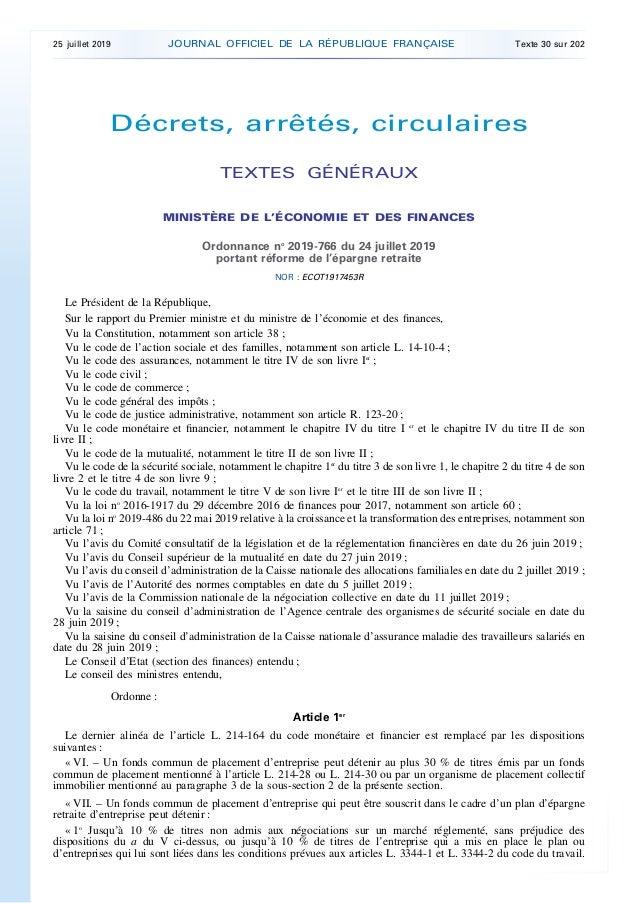 Décrets, arrêtés, circulaires TEXTES GÉNÉRAUX MINISTÈRE DE L'ÉCONOMIE ET DES FINANCES Ordonnance no 2019-766 du 24 juillet...