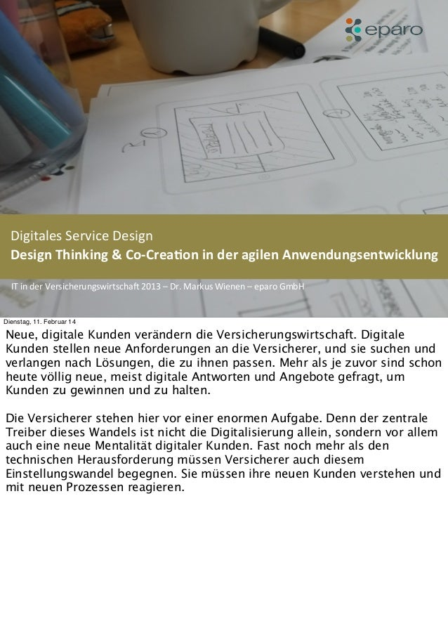 Digitales	   Service	   Design	   	   	    Design	   Thinking	   &	   Co-­‐Crea1on	   in	   der	   agilen	   Anwendungsent...