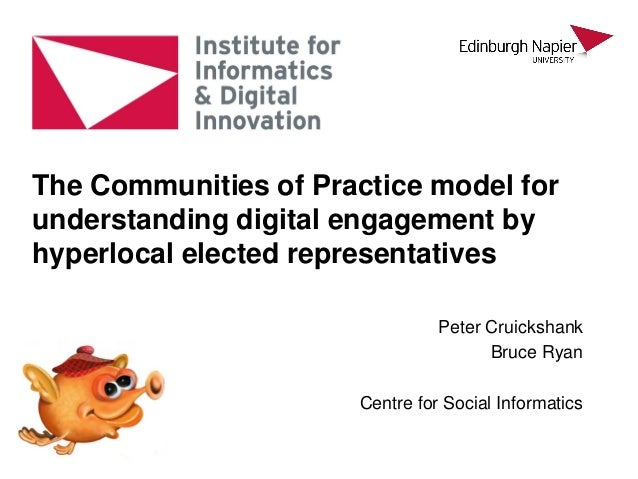 Peter Cruickshank Bruce Ryan Centre for Social Informatics The Communities of Practice model for understanding digital eng...