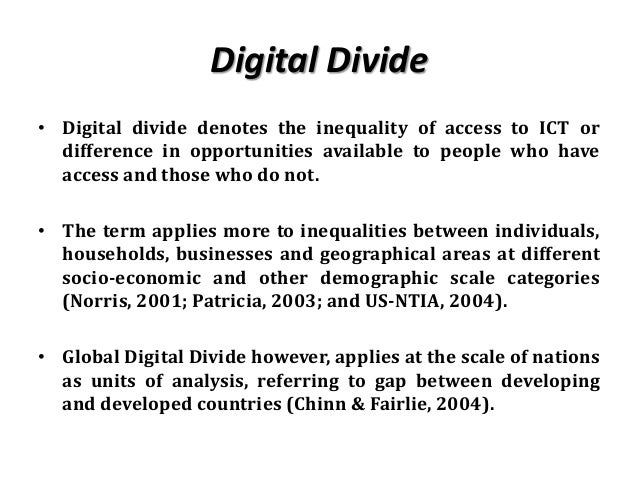 bridging the gap the digital divide Bridging the digital divide the internet has ushered in the greatest period of wealth creation in history it's rocked the way we deliver and receive information and the way we do business.