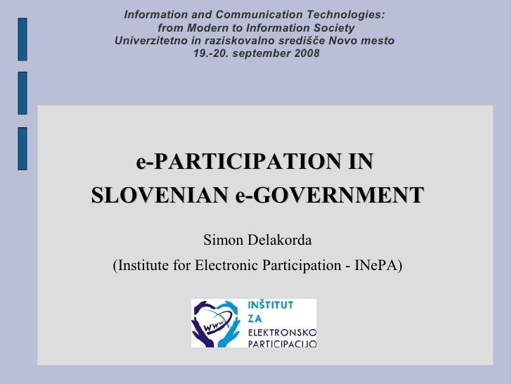 Information and Communication Technologies:         from Modern to Information Society  Univerzitetno in raziskovalno sred...