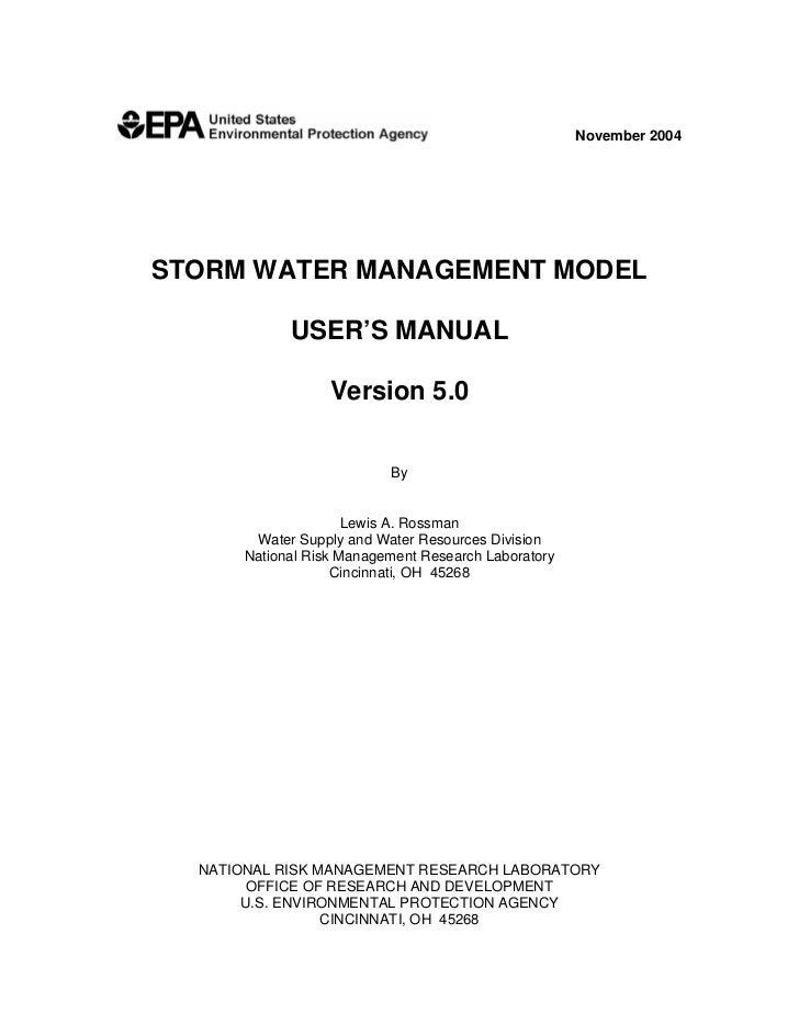 November 2004STORM WATER MANAGEMENT MODEL             USER'S MANUAL                   Version 5.0                         ...
