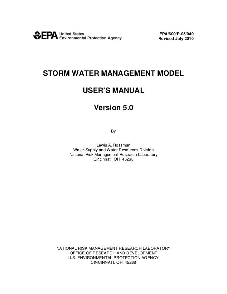 EPA/600/R-05/040                                                    Revised July 2010 STORM WATER MANAGEMENT MODEL        ...