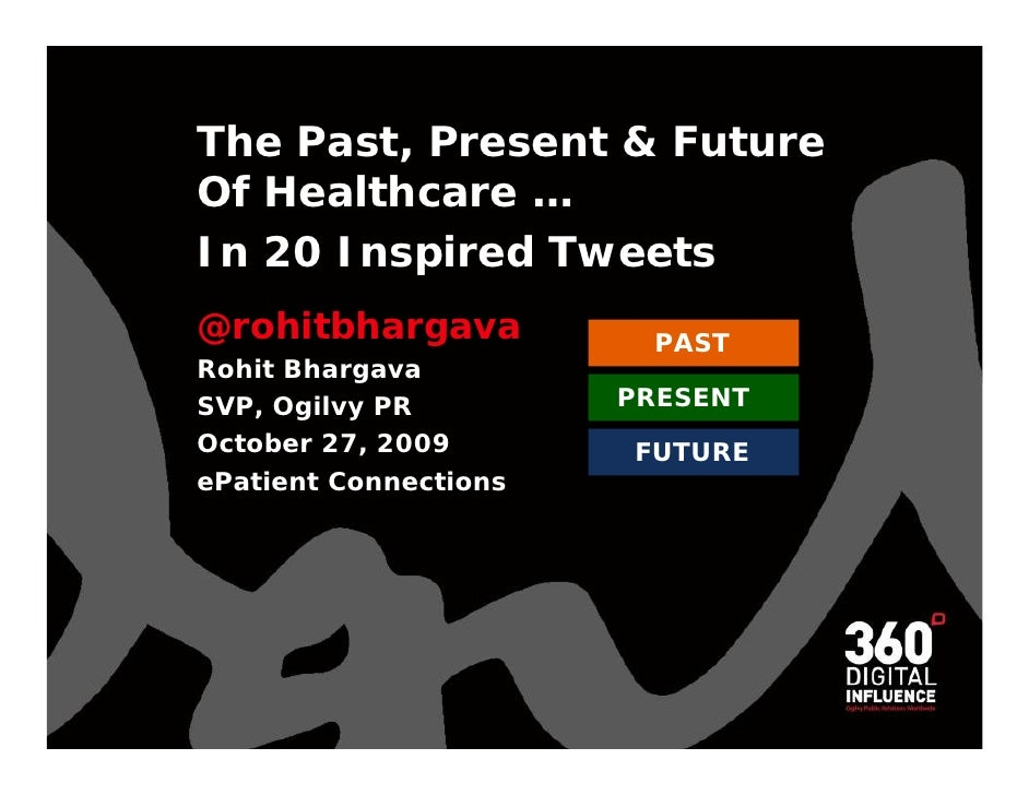 The Past, Present & Future Of Healthcare …  In 20 Inspired Tweets @rohitbhargava Rohit Bhargava  SVP, Ogilvy PR October 27...