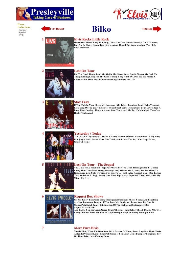 Home Collections Regular Special DVD                1   Elvis Rocks Little Rock                   Heartbreak Hotel; Long T...