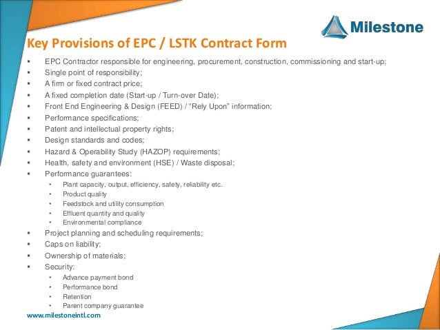 Epc lstk standard contract forms for Cost plus contract form