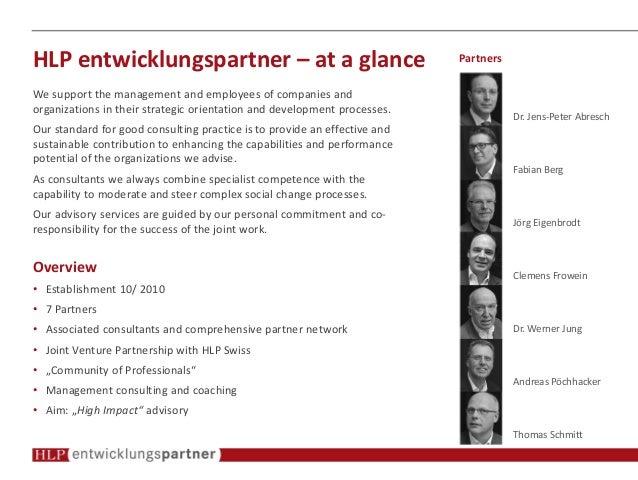 HLP entwicklungspartner – at a glance Dr. Jens-Peter Abresch Fabian Berg Jörg Eigenbrodt Clemens Frowein Dr. Werner Jung A...