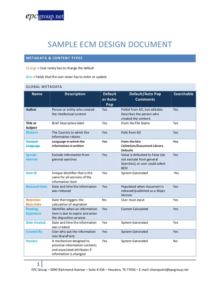 SAMPLE ECM DESIGN DOCUMENTMETADATA & CONTENT TYPESOrange = User rarely has to change the defaultBlue = Fields that the use...