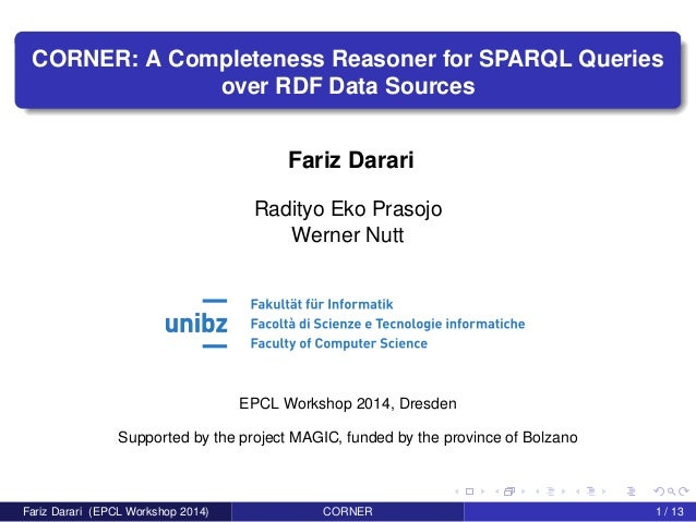 CORNER: A Completeness Reasoner for SPARQL Queries over RDF Data Sources Fariz Darari Radityo Eko Prasojo Werner Nutt EPCL...
