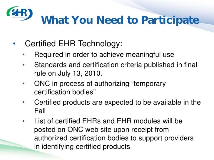 Utilization of certified ehr technology for