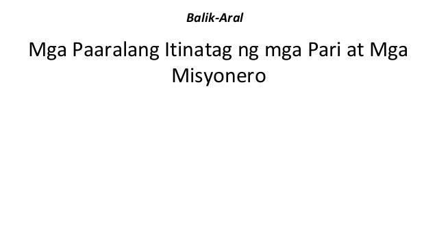 Balik-Aral  Mga Paaralang Itinatag ng mga Pari at Mga  Misyonero