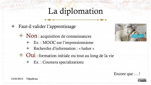 La diplomation ! Faut-il valider l'apprentissage ! Non : acquisition de connaissances ! Ex. : MOOC sur l'impressionnism...