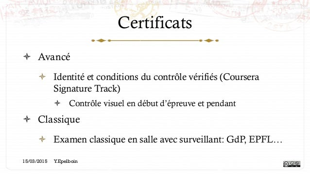 Certificats ! Avancé ! Identité et conditions du contrôle vérifiés (Coursera Signature Track) ! Contrôle visuel en débu...