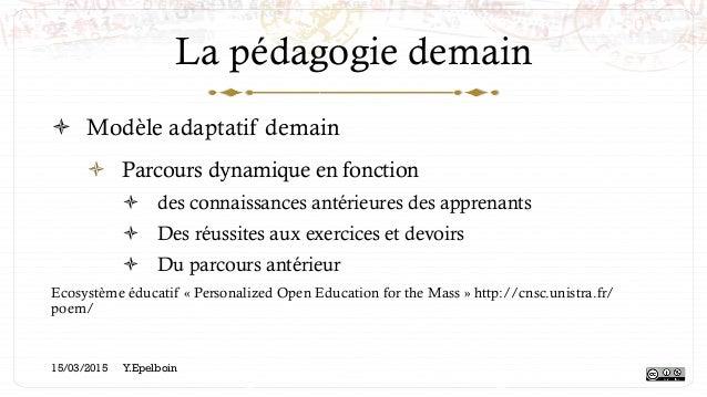 La pédagogie demain ! Modèle adaptatif demain ! Parcours dynamique en fonction ! des connaissances antérieures des appr...