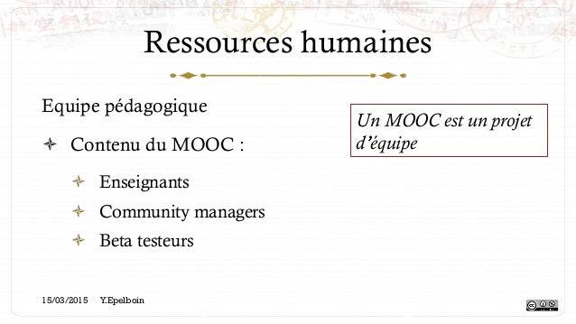 Ressources humaines Equipe pédagogique ! Contenu du MOOC : ! Enseignants ! Community managers ! Beta testeurs Un MOOC ...