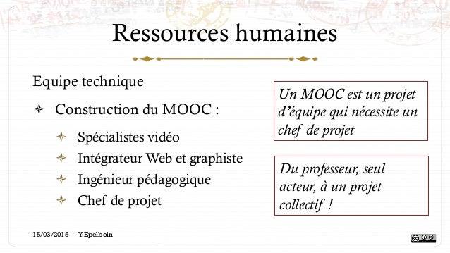 Ressources humaines Equipe technique ! Construction du MOOC : ! Spécialistes vidéo ! Intégrateur Web et graphiste ! In...
