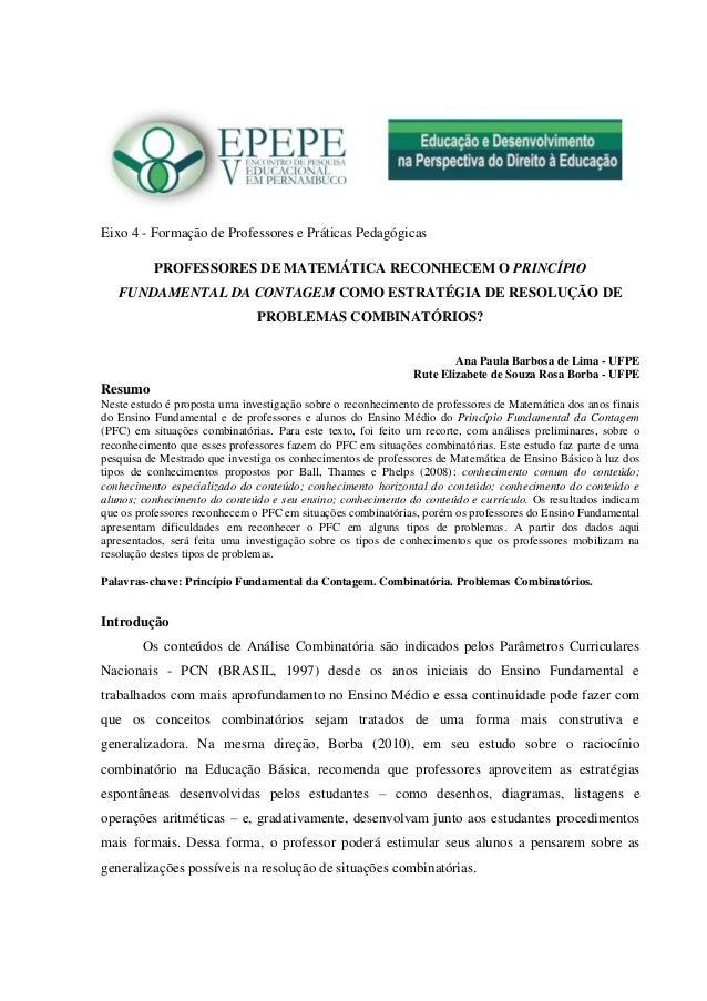 Eixo 4 - Formação de Professores e Práticas Pedagógicas  PROFESSORES DE MATEMÁTICA RECONHECEM O PRINCÍPIO FUNDAMENTAL DA C...