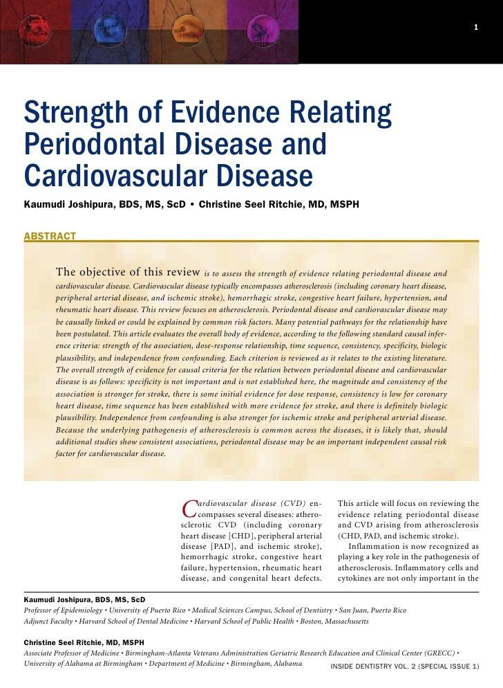 1Strength of Evidence RelatingPeriodontal Disease andCardiovascular DiseaseKaumudi Joshipura, BDS, MS, ScD • Christine See...