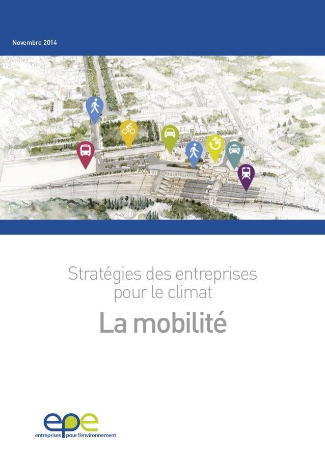 Stratégies des entreprises  pour le climat  La mobilité  Novembre 2014