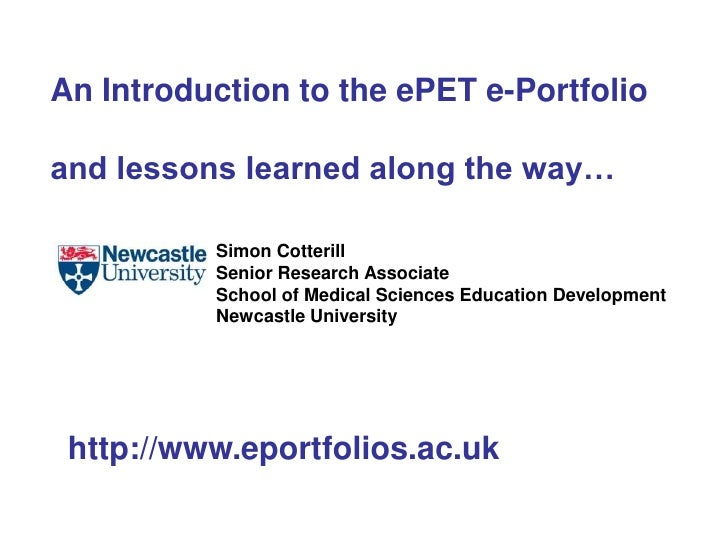 An Introduction to the ePETe-Portfolio<br />Simon Cotterill <br />Senior Research Associate<br />Newcastle University<br /...