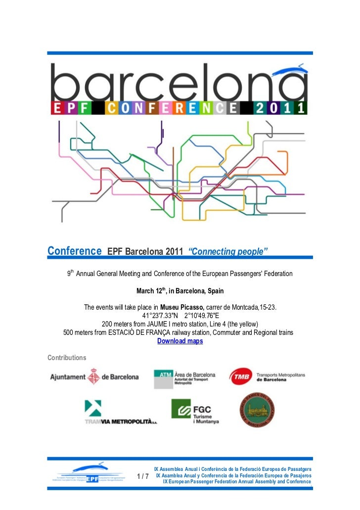 """Conference EPF Barcelona 2011 """"Connecting people""""      9th Annual General Meeting and Conference of the European Passenger..."""