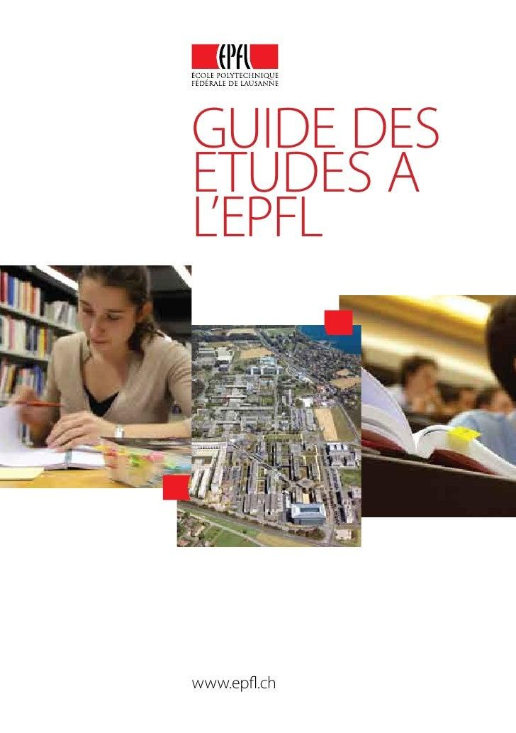 GUIDE DES ETUDES A L'EPFL     www.epfl.ch
