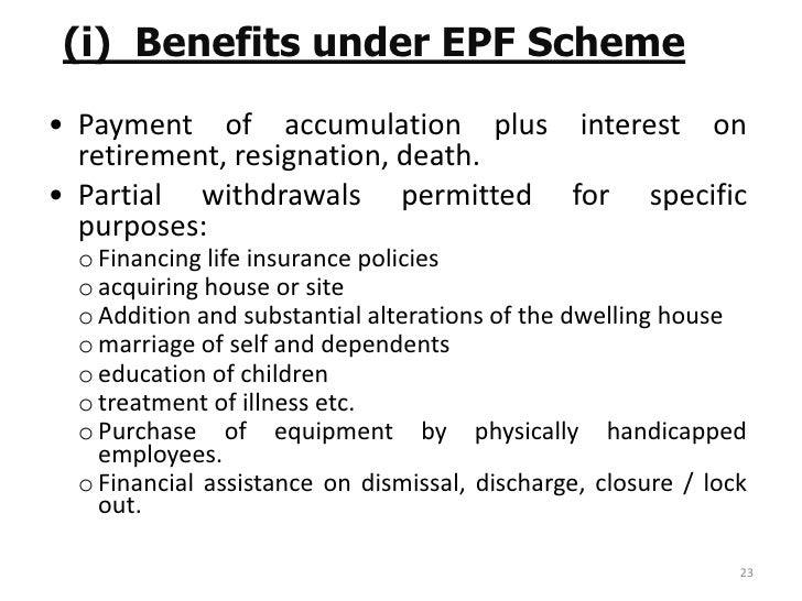 Epf Mpf Act 1952 Services Members 22 23 Benefits Scheme