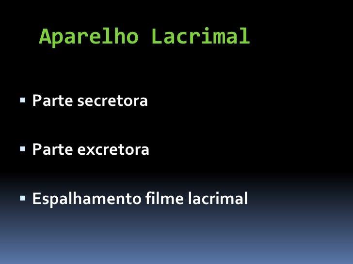 Aparelho Lacrimal Parte secretora Parte excretora Espalhamento filme lacrimal