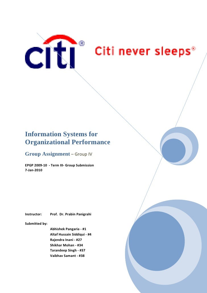 Information Systems for Organizational Performance Group Assignment – Group IV EPGP 2009-10 - Term III- Group Submission 7...