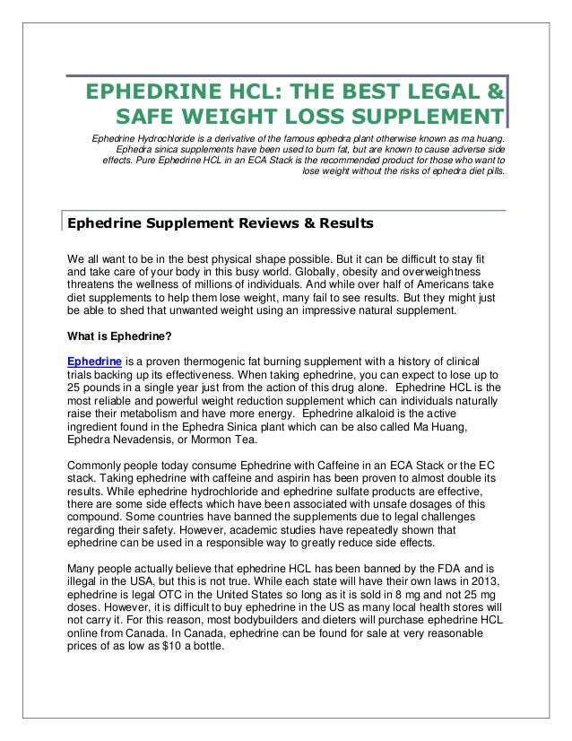 EPHEDRINE HCL: THE BEST LEGAL & SAFE WEIGHT LOSS SUPPLEMENT