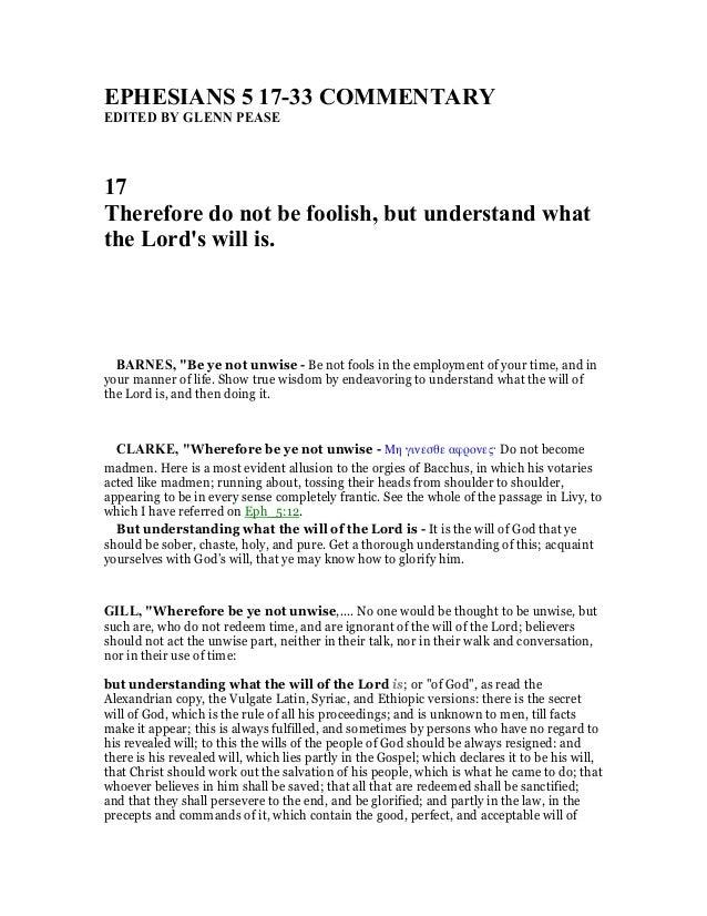 Ephesians 5 17 33 commentary