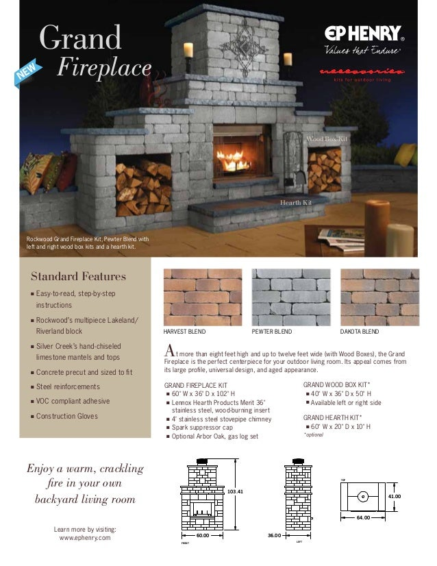 HARVEST BLEND Rockwood Grand Fireplace Kit, Pewter Blend with left and right wood box kits and a hearth kit. Grand Firepla...