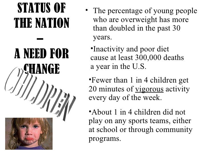 STATUS OF THE NATION –  A NEED FOR CHANGE <ul><li>The percentage of young people who are overweight has more than doubled ...