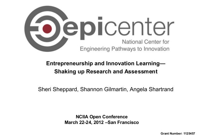 Entrepreneurship and Innovation Learning— Shaking up Research and Assessment NCIIA Open Conference March 22-24, 2012 –San ...