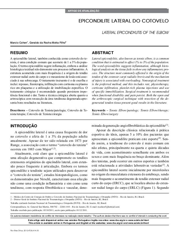 Artigo de Atualização 1 – Médico do Centro de Cirurgia do Ombro e Cotovelo do Instituto Nacional de Traumatologia e Ortope...
