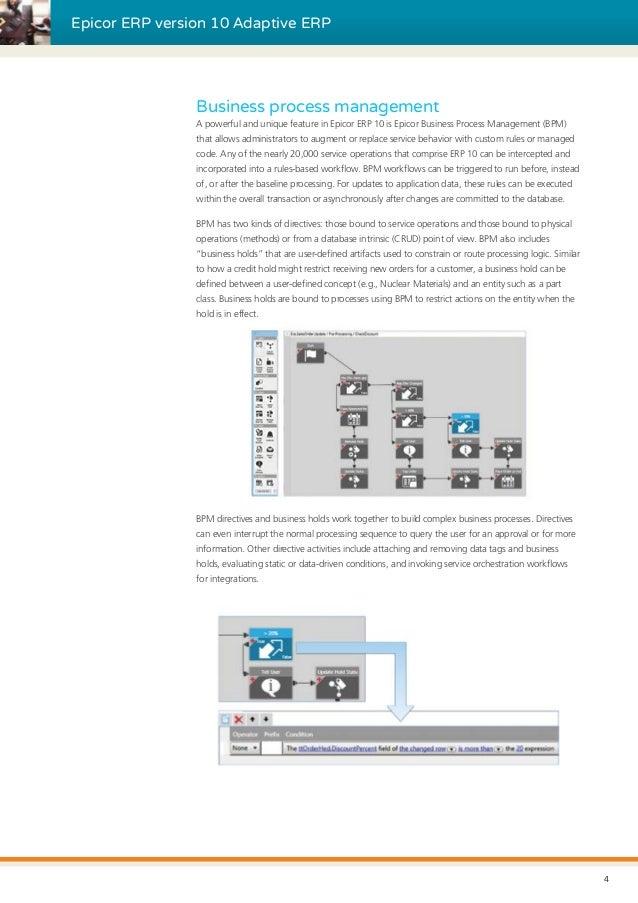 Epicor ERP version 10 Adaptive ERP Business process management A powerful and unique feature in Epicor ERP 10 is Epicor Bu...